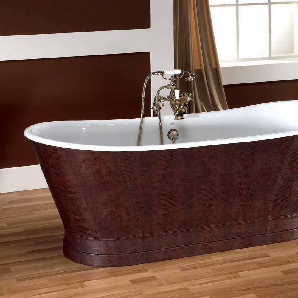 Vasca da bagno in ghisa con copertura esterna in cuoio elsie - Copertura vasca da bagno ...
