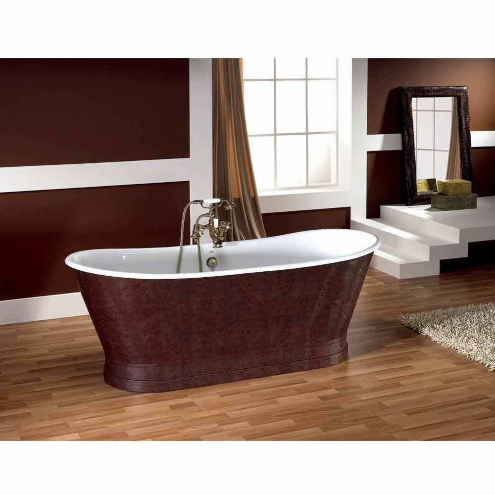 vasca da bagno in ghisa con copertura esterna in cuoio elsie