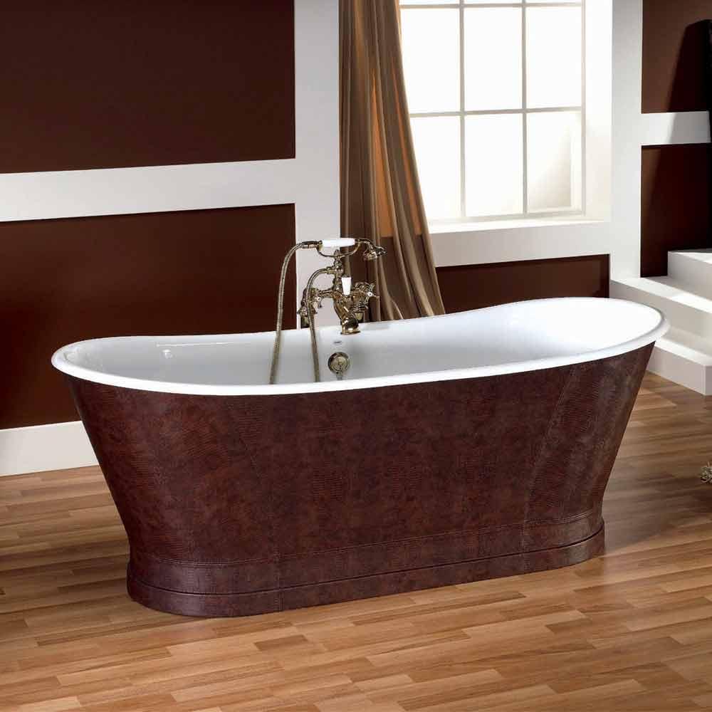 Vasca da bagno in ghisa con copertura esterna in cuoio elsie for Vasca da bagno esterna
