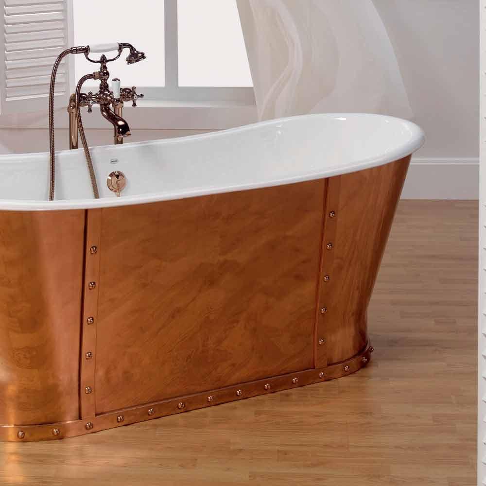 Vasca da bagno in ghisa placcata esternamente in rame Henry