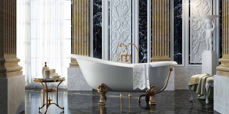 Vasca freestanding di design con piedini in oro made in italy fregona - Decor italy vasca ...