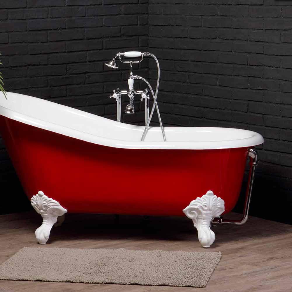 Vasca di design in ghisa verniciata con piedini decorati carrie - Vasca da bagno in ghisa ...