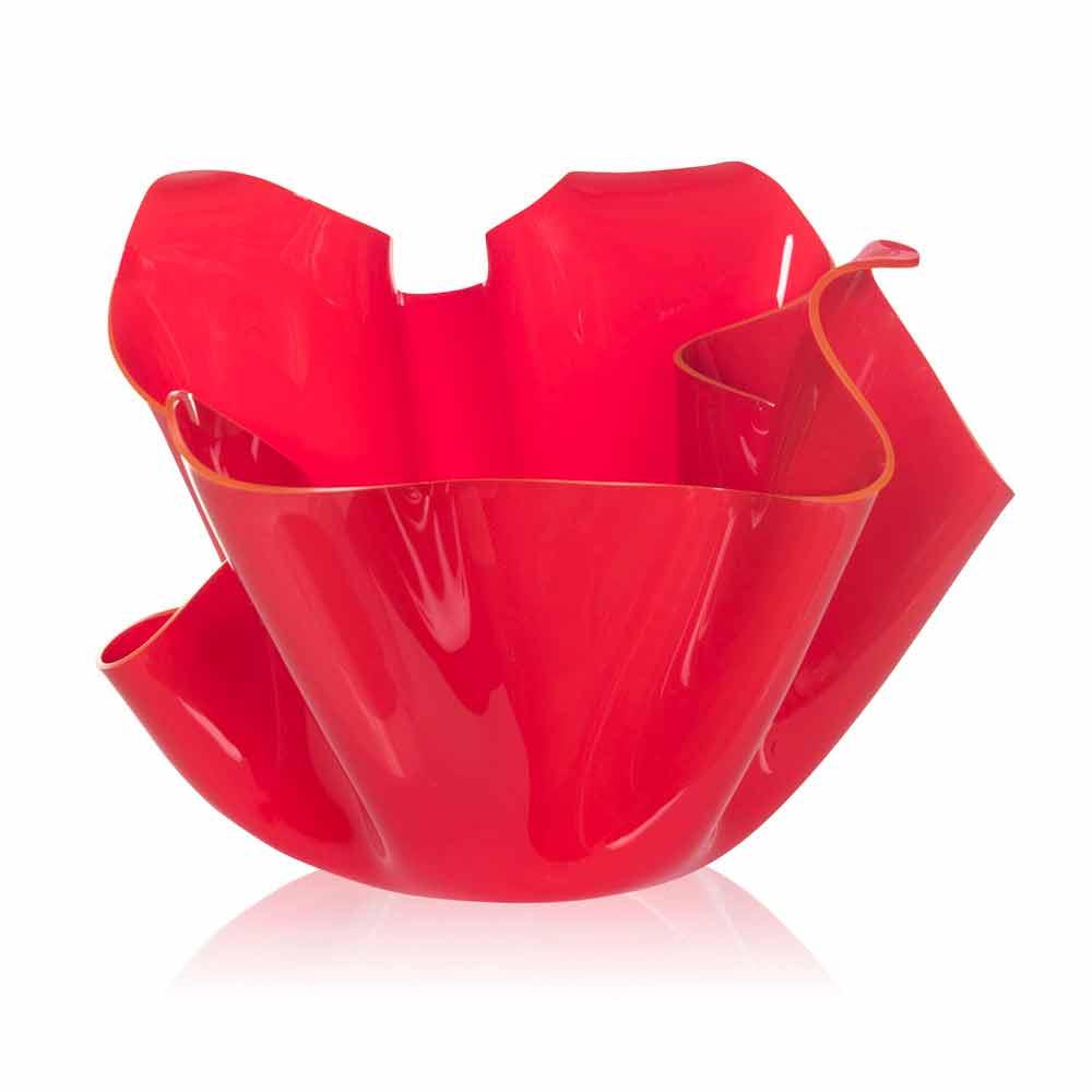 Vaso rosso da interno esterno design drappeggiato pina made in italy - Vaso da interno ...