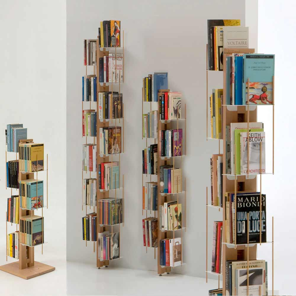 Libreria moderna di design da terra made in italy zia for Porta libri