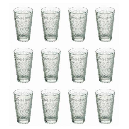 12 Bicchieri Beverage in Vetro Trasparente Decorato per Bibite - Maroccobic