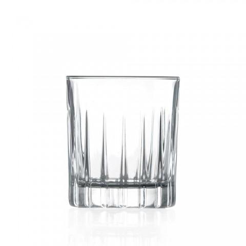 12 Bicchieri da Liquore in Eco Cristallo con Decori Lineari Design - Senzatempo