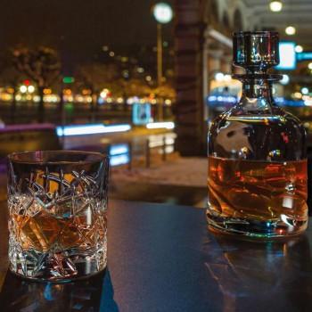 12 Bicchieri Dof Vintage per Acqua o Whisky Design in Cristallo - Titanio