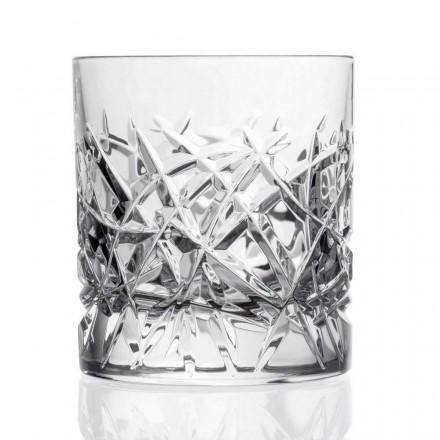 12 Bicchieri Dof Vintage per Whisky Design in Cristallo, Linea Lusso - Titanio