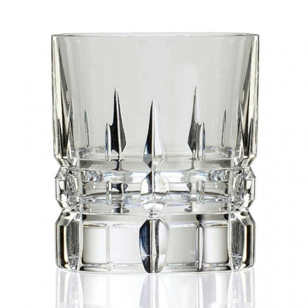 12 Bicchieri Dof Tumbler Bassi da Whisky in Cristallo, Linea Lusso - Fiucco