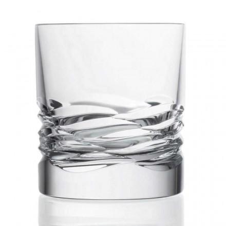 12 Bicchieri in Cristallo Decorato per Whisky Dof Tumbler, Linea Lusso - Titanio