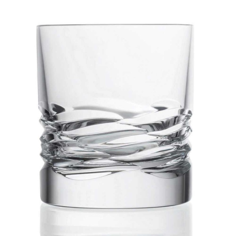 12 Bicchieri in Cristallo Decoro a Onda per Whisky o Acqua Dof Tumbler - Titanio
