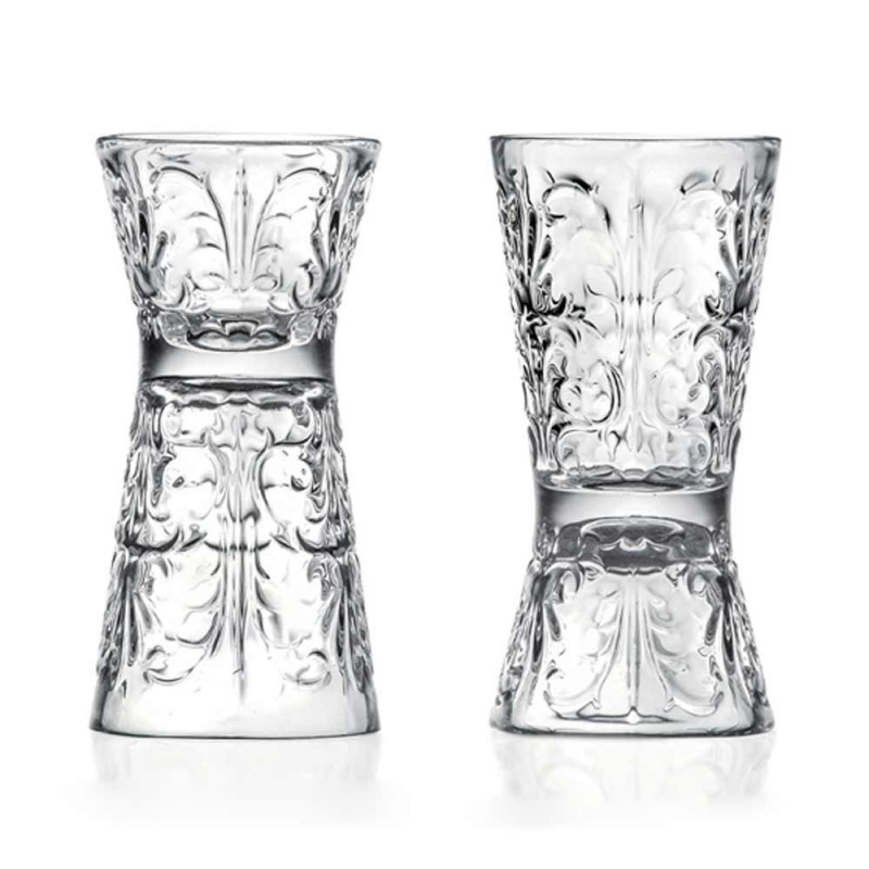 12 Bicchieri Jigger Design Decorato di Lusso in Cristallo Ecologico - Destino