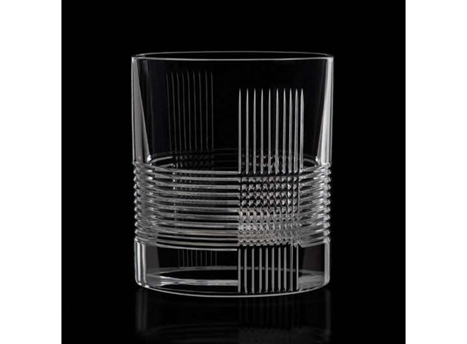 12 Bicchieri per Acqua o Whisky Design Vintage in Cristallo Decorato - Tattile