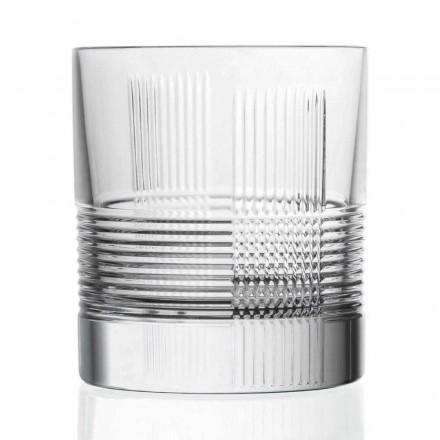 12 Bicchieri Whisky Design Vintage in Cristallo Decorato, Linea Lusso - Tattile