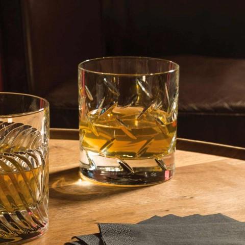 12 Bicchieri per Whisky o Acqua in Cristallo Eco con Decori Moderni - Aritmia