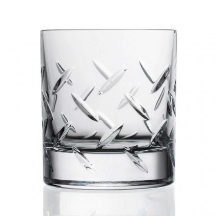 12 Bicchieri per Whisky o Acqua in Cristallo con Decori, Linea Lusso - Aritmia