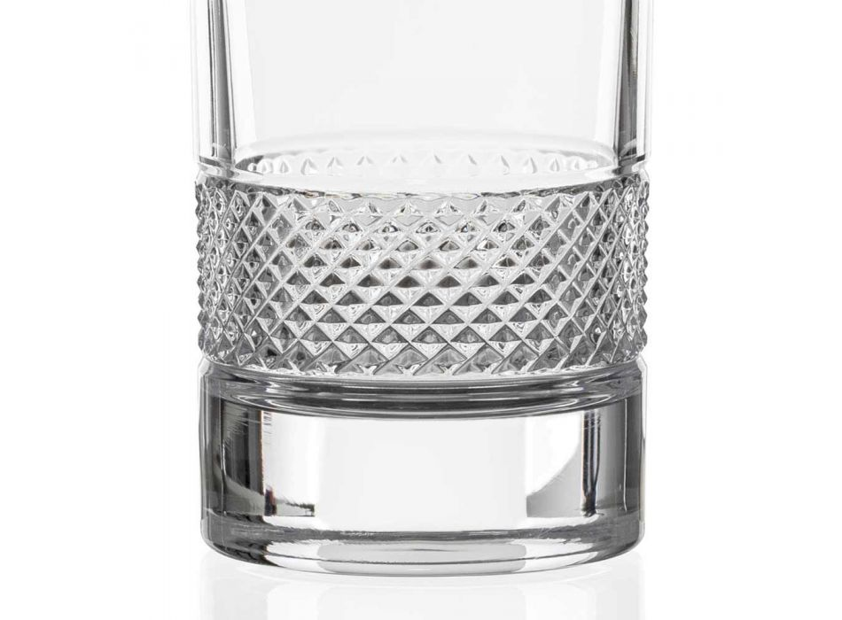 12 Bicchieri Tumbler Alti in Cristallo Ecologico Decorato di Lusso - Milito