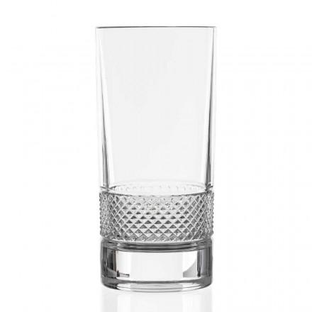 12 Bicchieri Tumbler Alti in Cristallo Ecologico Decorato, Linea Lusso - Milito