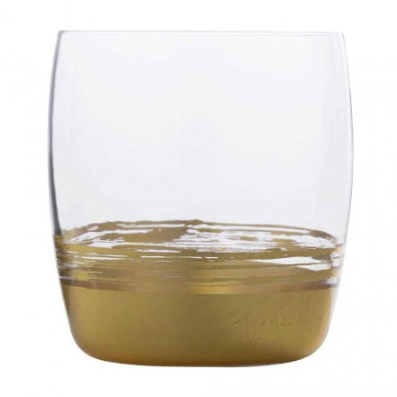12 Bicchieri Tumbler Bassi con Foglia Oro, Platino o Bronzo Linea Lusso - Soffio