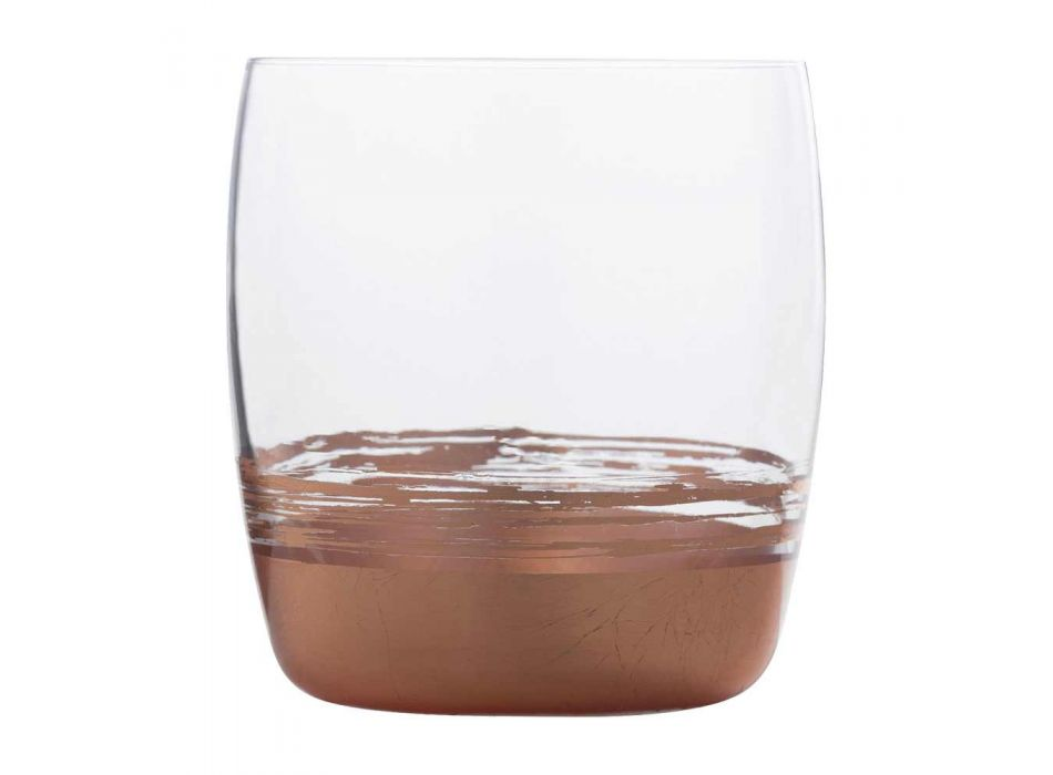 12 Bicchieri Tumbler Bassi per Acqua con Foglia Oro Platino o Bronzo - Soffio