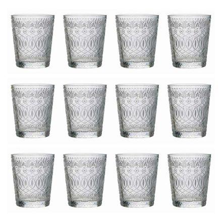 12 Bicchieri Tumbler per Acqua in Vetro Trasparente Decorato - Maroccobic
