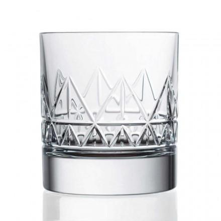 12 Bicchieri Whisky o Acqua, Design Vintage in Cristallo Linea Lusso - Aritmia