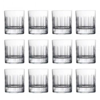 12 Bicchieri Whisky o Acqua in Cristallo con Decoro Lineare di Lusso - Aritmia