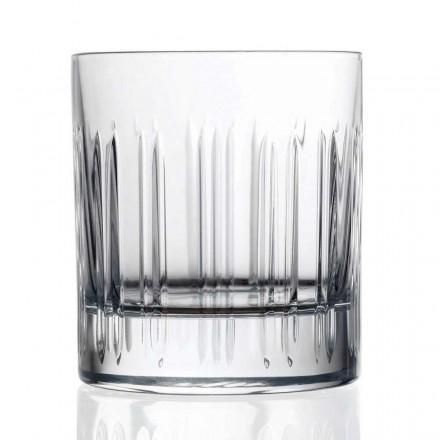 12 Bicchieri Whisky o Acqua in Cristallo con Decoro, Linea Lusso - Aritmia