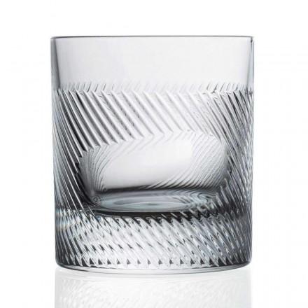 12 Bicchieri Whisky in Cristallo Decorato Design Vintage, Linea Lusso - Tattile