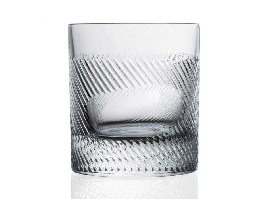 12 Bicchieri Whisky o Acqua in Cristallo Eco Decorato Design Vintage - Tattile
