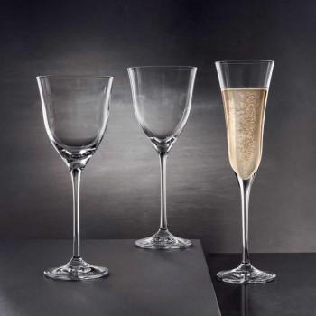 12 Calici da Vino Bianco in Cristallo Ecologico Design Minimale Lusso - Lisciato