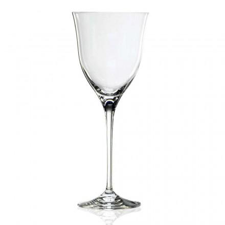 12 Calici da Vino Bianco in Cristallo di Design Minimale Linea Lusso - Lisciato