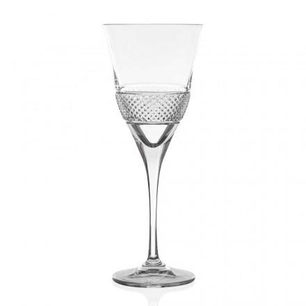 12 Calici Vino Rosso in Cristallo, Design Elegante Decorato Linea Lusso - Milito