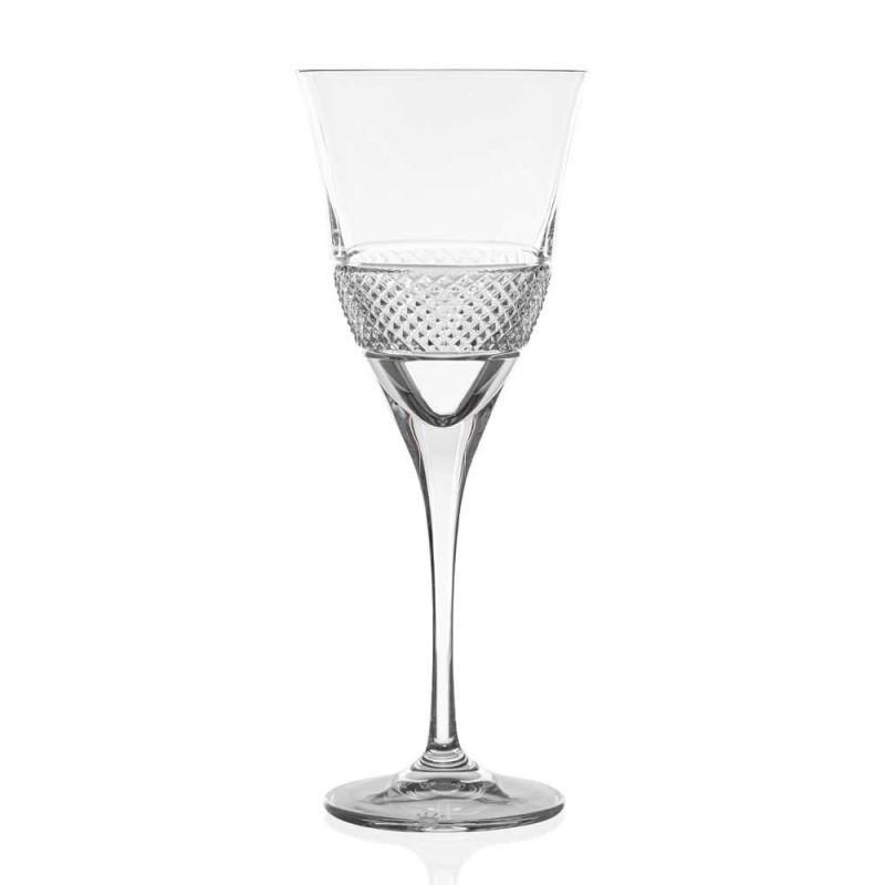 12 Calici da Vino Rosso in Eco Cristallo Design Elegante Decorato - Milito
