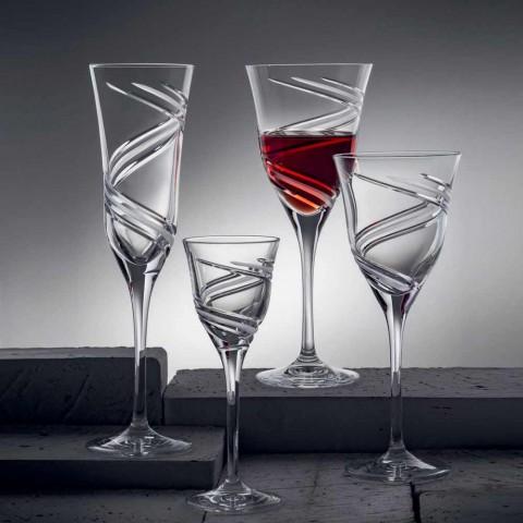 12 Calici Flute Champagne in Cristallo Ecologico Decorato Innovativo - Ciclone