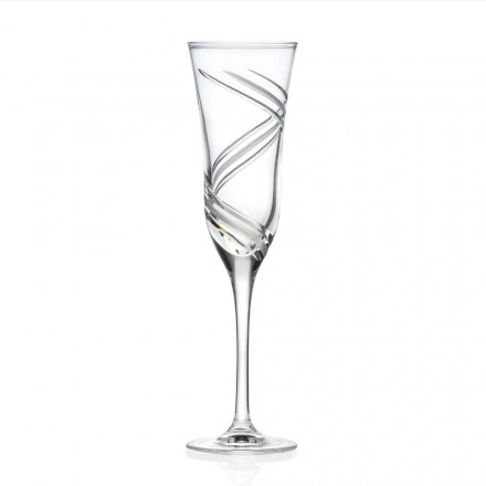 12 Calici Flute Champagne, Cristallo Decorato Italiano Linea Lusso - Ciclone