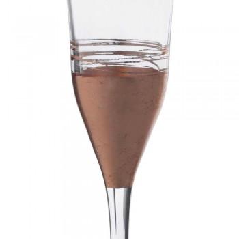 12 Calici Flute Cristallo con Foglia Oro Bronzo o Platino di Lusso - Soffio