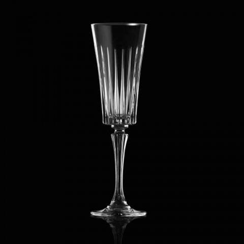12 Calici Flute da Spumante Decoro Tagli Lineari in Cristallo Eco - Senzatempo