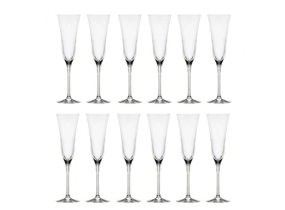 12 Calici Flute in Cristallo Ecologico di Lusso Design Minimale - Lisciato