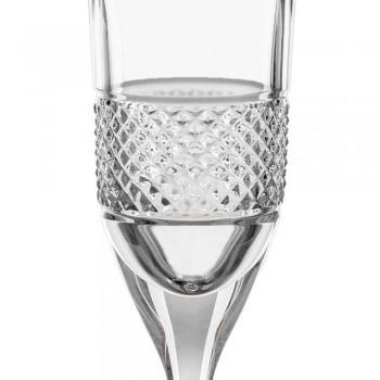 12 Calici Flute per Champagne in Cristallo Ecologico con Decoro Manuale - Milito