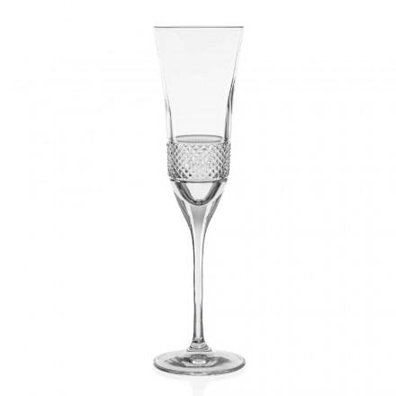 12 Calici Flute per Champagne in Cristallo Decorati a Mano, Linea Lusso - Milito