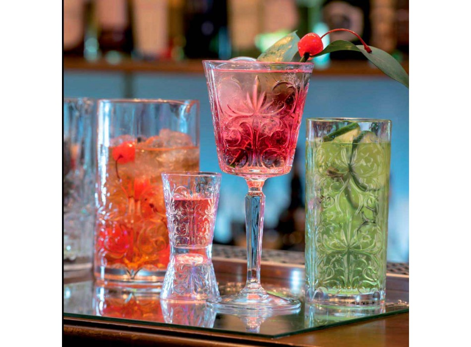 12 Calici per Acqua Bibite o Cocktail Design in Eco Cristallo Decorato - Destino