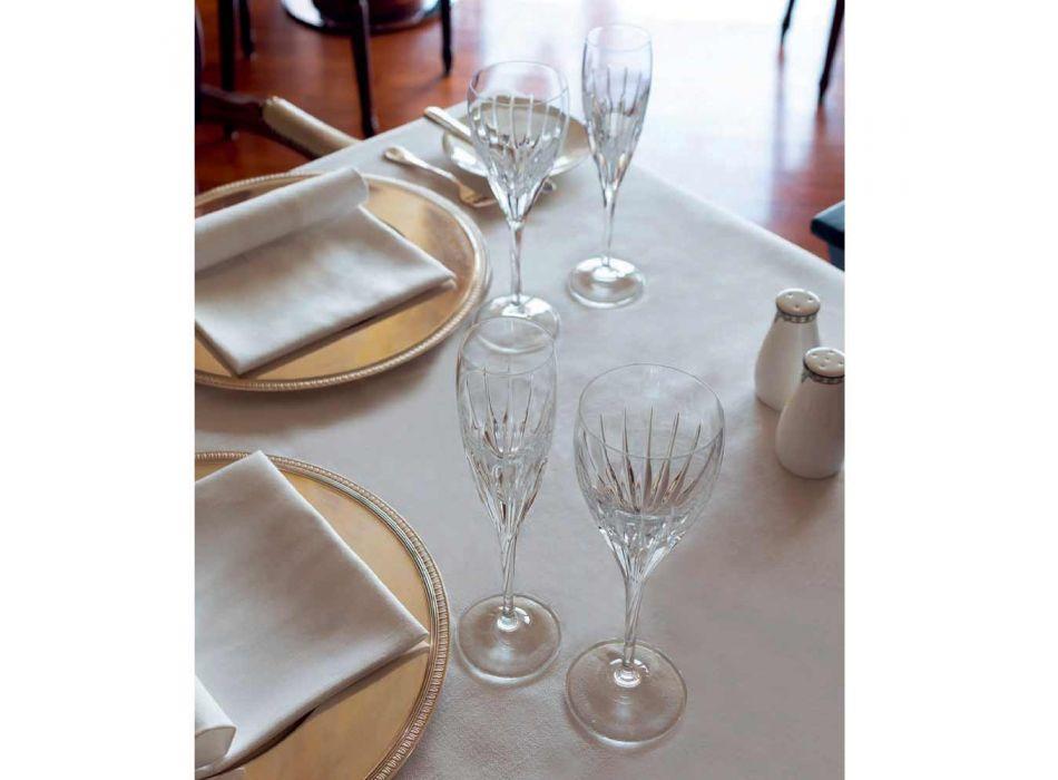 12 Calici per Vino Bianco Decorati a Mano in Cristallo Ecologico Lusso - Voglia