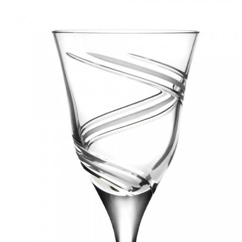 12 Calici per Vino Bianco in Cristallo Ecologico Decorato e Satinato - Ciclone