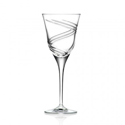 12 Calici per Vino Bianco in Cristallo Decorato e Satinato Linea Lusso - Ciclone
