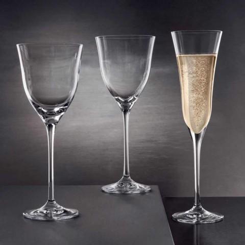 12 Calici per Vino Rosso in Cristallo Ecologico Design Minimale Lusso - Lisciato