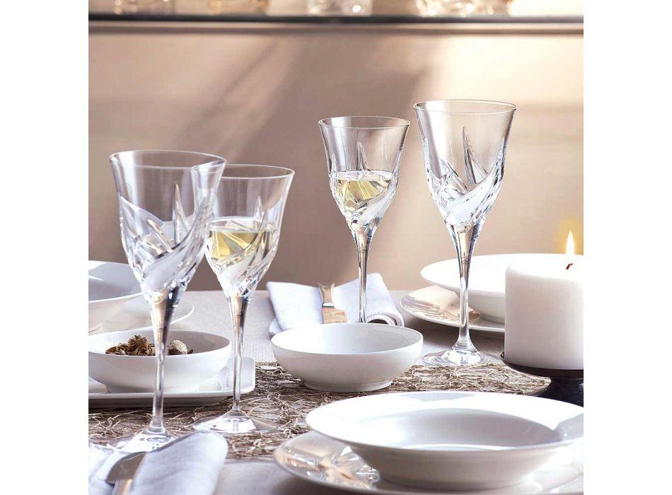 12 Calici Vino Bianco Design di Lusso in Eco Cristallo Decorato a Mano - Avvento
