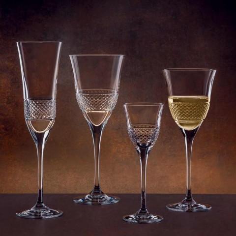 12 Calici Vino Bianco in Cristallo Ecologico Design Decorato di Lusso - Milito