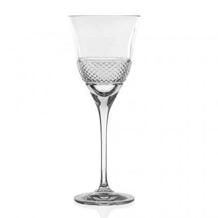12 Calici Vino Bianco in Cristallo Eco, Design Decorato Linea Lusso - Milito