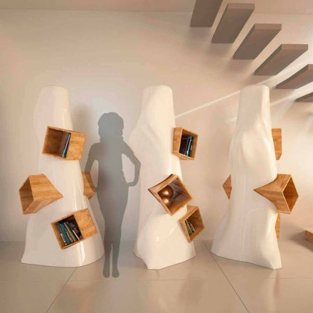 Libreria design moderno in legno e Solid Surface K2 made in Italy
